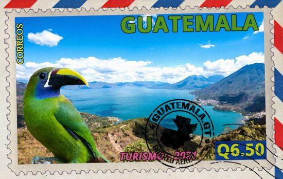 Pájaros tropicales, Sello de correos, Lago de Atitlán, Sololá, Guatemala