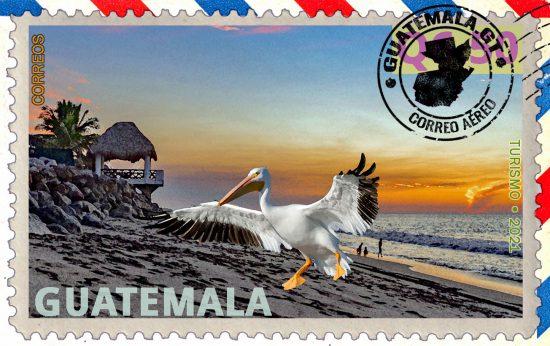 Playas del océano Pacífico de Guatemala, sello postal, cartel de turismo.