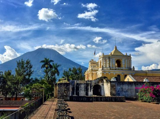 Agua Volcano seen from a courtyard in Antigua Guatemala